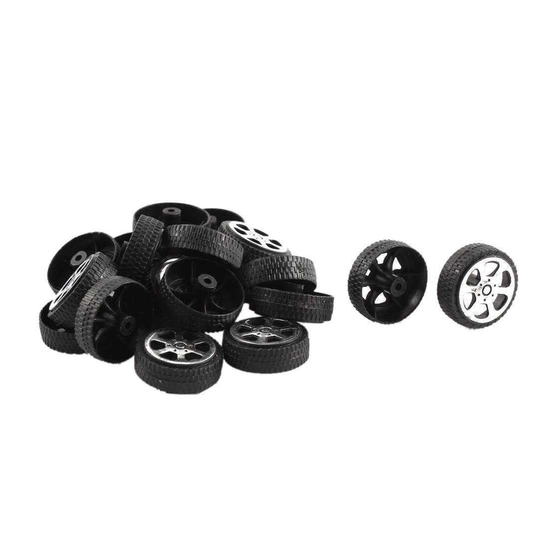 Plastic Roll 2mm Dia Shaft Auto Vrachtwagen Model Speelgoed Wiel 20mm x 6mm 20Pcs