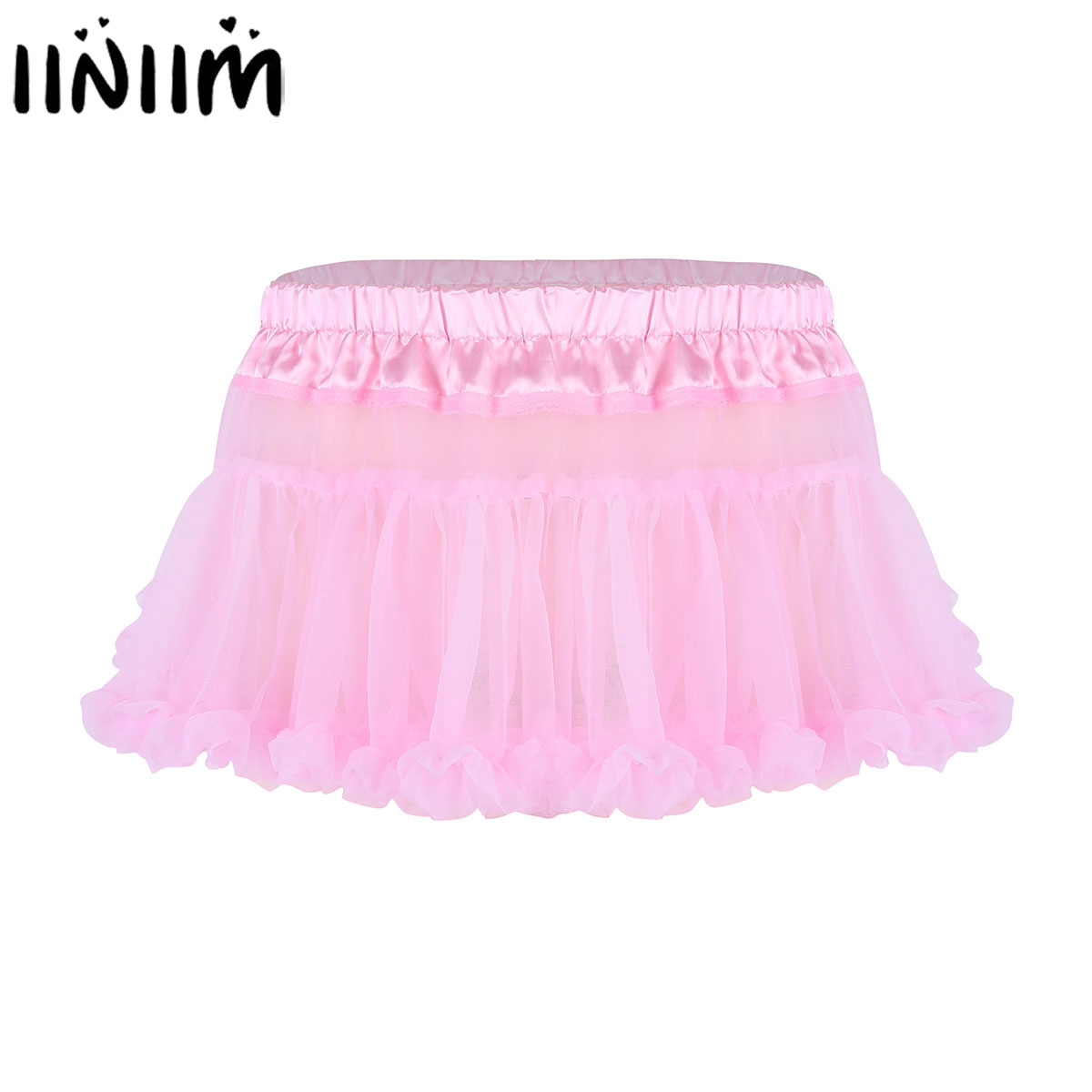 iiniim Mens Sissy Lingerie Panties Satin Elastic Waistband Frilly Ruffled Tulle Layered Skirt Short Babydolls Mini Tutu Skirts(China)