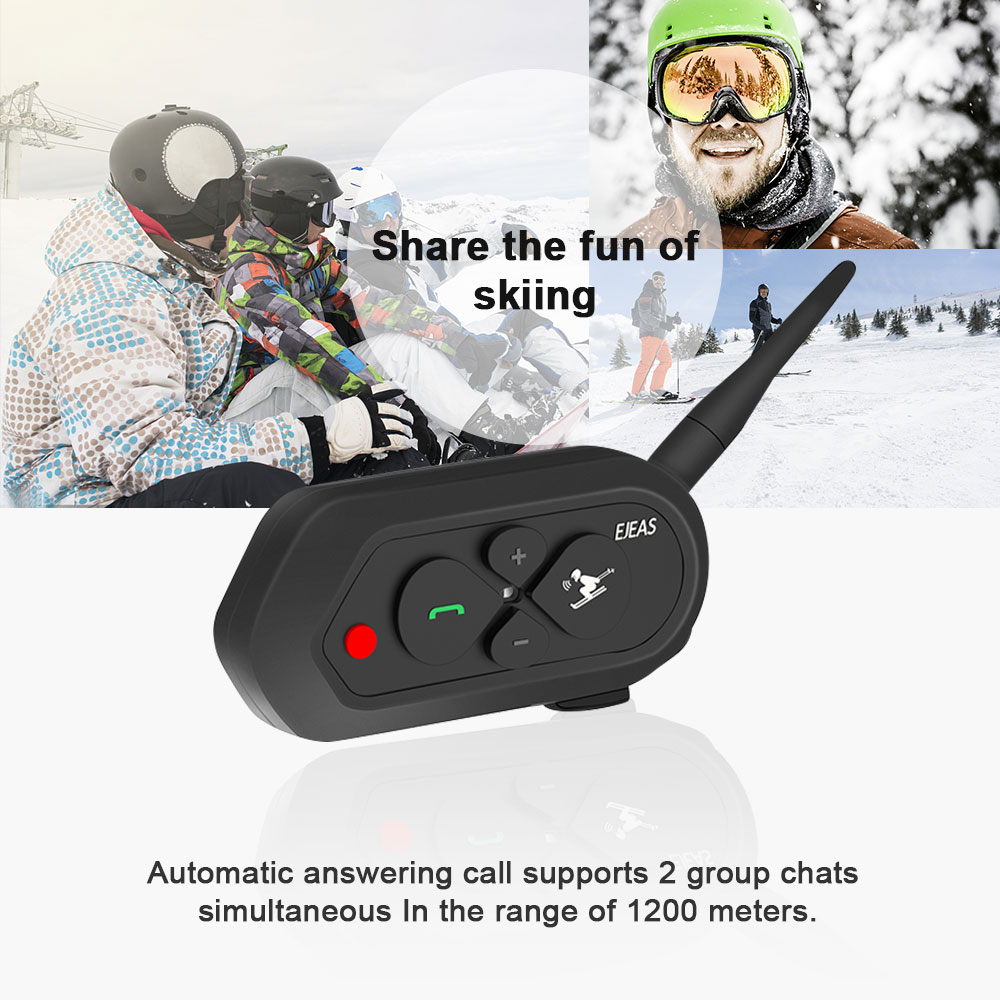 EJEAS SKI10 1200 mt Bluetooth SKI Helm Intercom Headset Große Taste 500 mah AUX Auo Wiederverbindung Firmware-upgrade für 2 skifahrer
