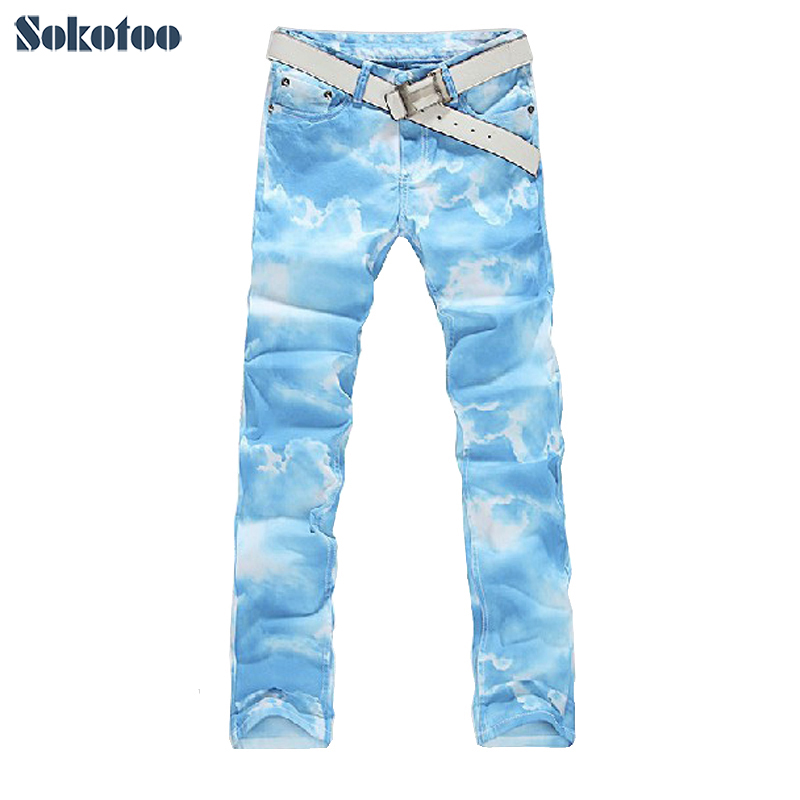 ФОТО Sokotoo Colored drawing jeans male sky blue print elastic denim pant for men pure and fresh COOL jeans Free shipping