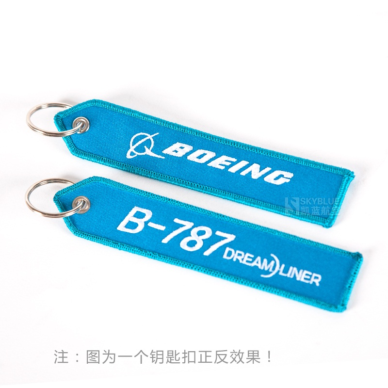 Boeing Logo B-787 Travel Luggage Tag Sky Blue Embroider, Bag Tag Gift for Flight Crew Pilot Aviation Lover