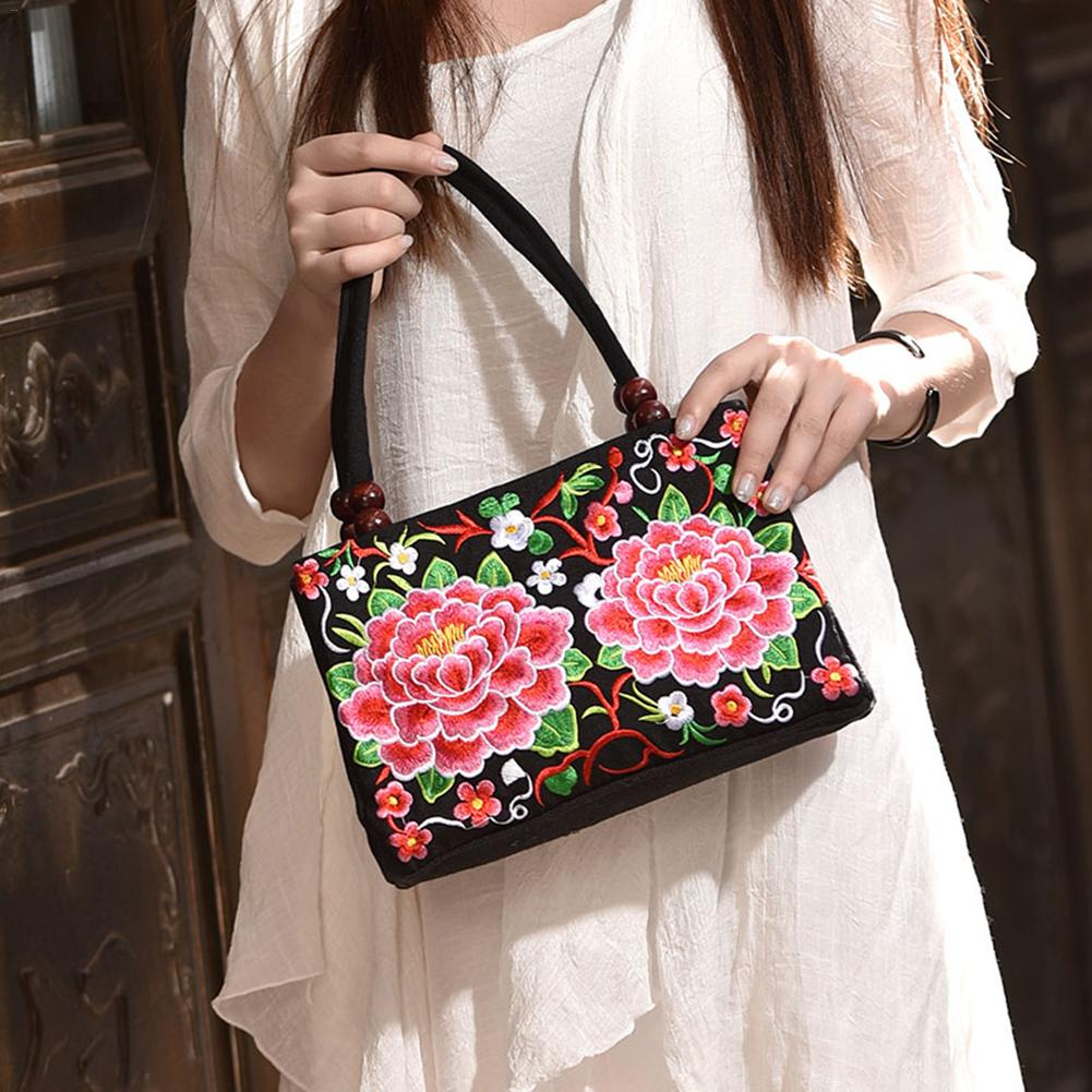 437344580516 Women s Hand Bag Ethnic Style Embroidered Fashion Handbag Canvas Shoulder  Top-Handle Totes Outdoor Personality Floral Women Bags