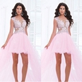 Sexy Lace Pink High Low Cocktail Dresses 2016 Coctail Party Prom Robe De Cocktail Party Dresses