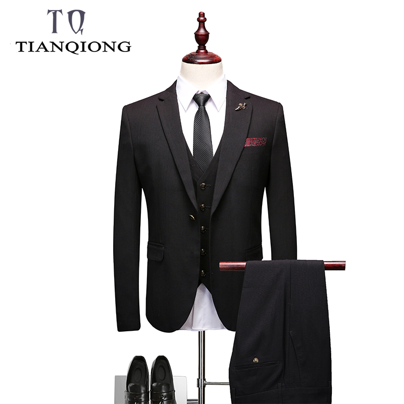 2019 New Fashion Handsome Black Mens Suit Groom Suit Wedding Suits For Best Men Slim Fit Groom Tuxedos For Man(Jacket+Vest+Pant)