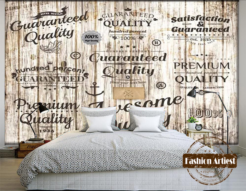 Custom 3d Vintage Wallpaper Mural Wooden Board Trade Mark Letter Tv Sofa Bedroom Living Room Cafe Bar Restaurant Background In Wallpapers From Home