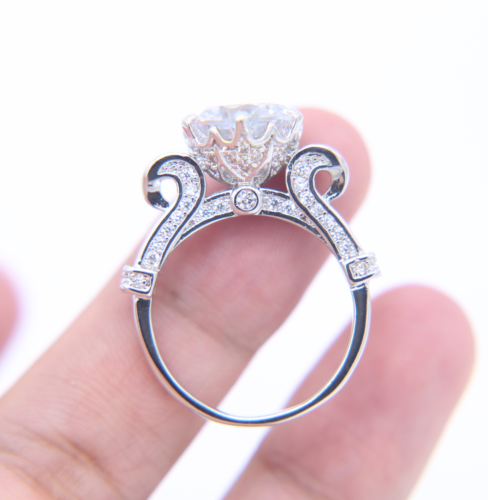 Newshe Silver Plated Wedding Rings Set For Women Rose Flower Design ...