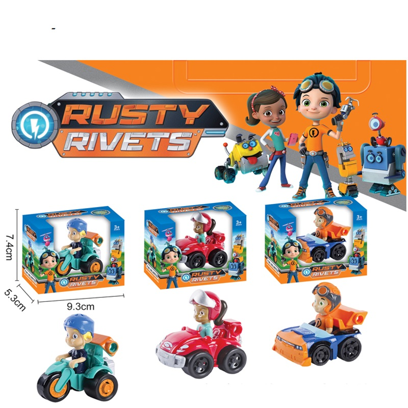 RUSTY Doll With 3pcs/lot Car Junior Maker Characters Action Figure freddy Toys Boy Gift Rusty Rivets Cartoon Model image