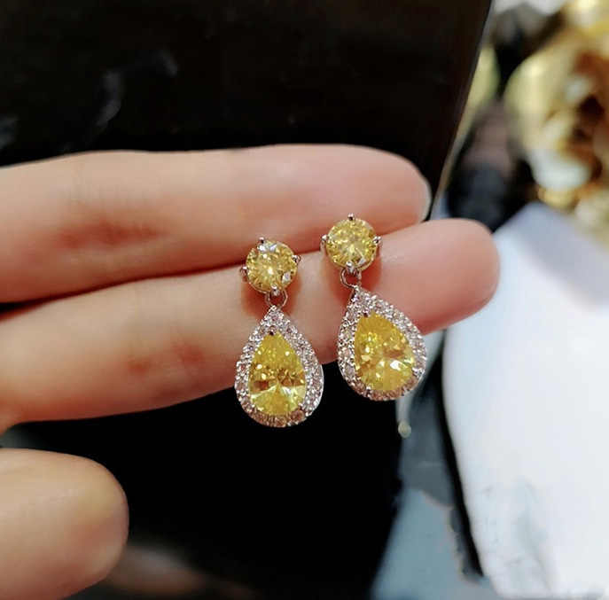 Yellow AAA Cubic Zirconia Classic Big Drop Crystal 925 silver Earrings Luxury Bridal Plata Wedding Earrings for Women with stamp