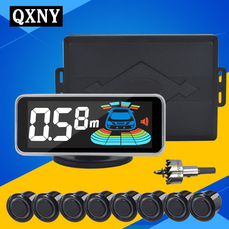 imágenes para QXNY Automóvil Radar de Marcha Atrás Sensor de Aparcamiento 8 sensores Del Coche detector de radar de ayuda al aparcamiento de aparcamiento aparcamiento Inversa