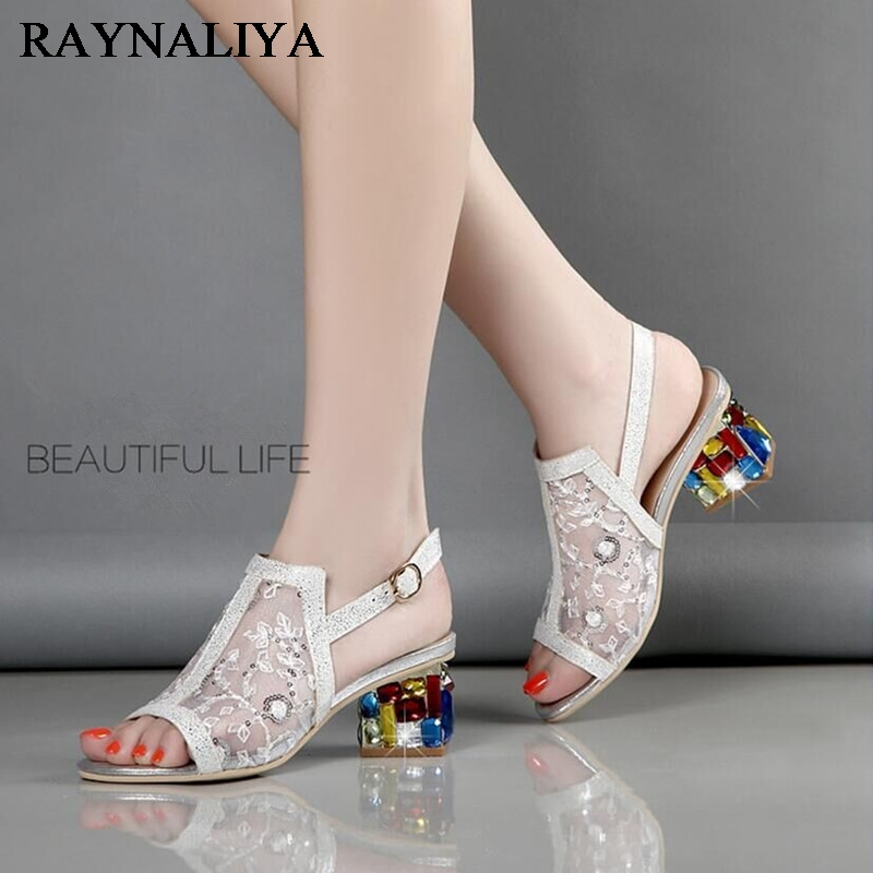 Women Wedding Party Rhinestone Lace Square Heels Sandal Shoes Ladies European Design High Heels Sexy Sandals Shoes XMX-A0059 pop stars same design latest 2016 sexy tassel women sandals high heels lady casual lace up dress party shoes for women and girl