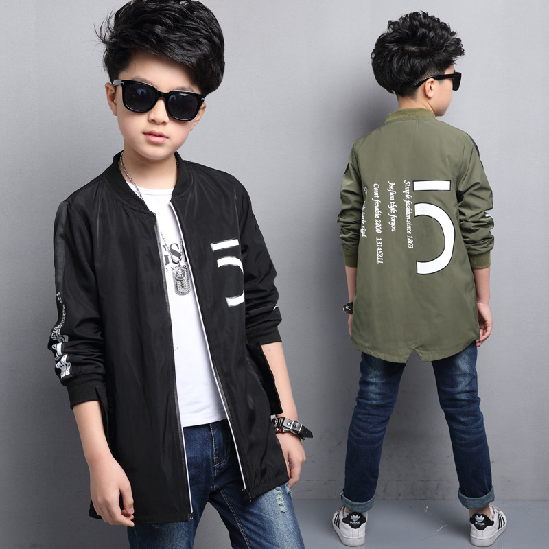 ФОТО Kids boys spring / autumn jacket 2017 new baby boys fashion clothing big virgin number 5 outerwear 4/5/6/7/8/9/10/11/12/13/14