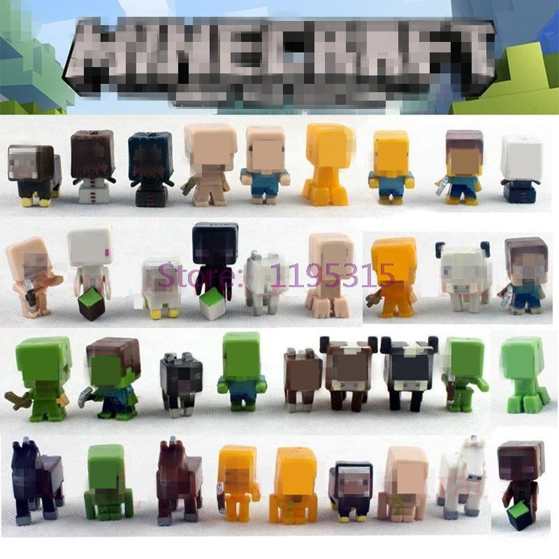 36pcs/lot Minecraft More Characters Hanger Creeper Action Figure Toys Cute 3D Minecraft Models Games Collection Toys #E