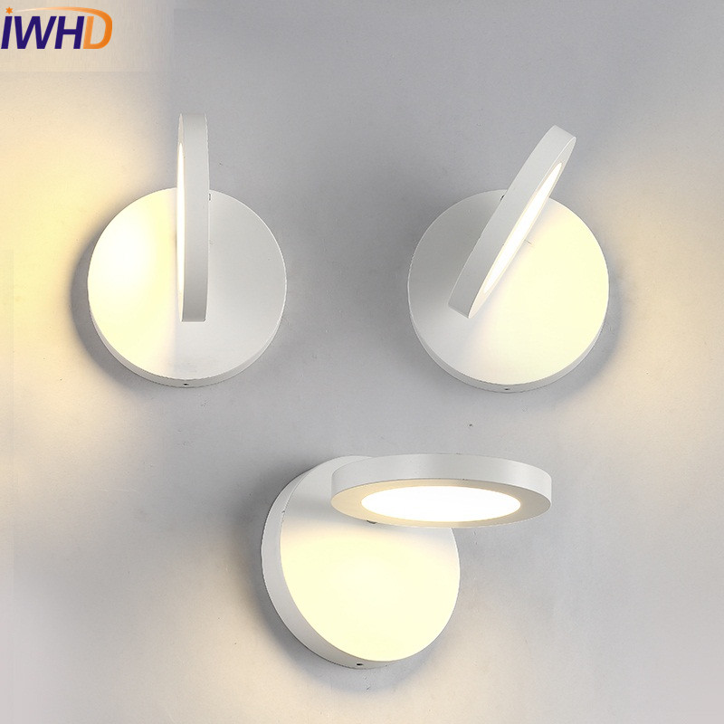 Simple Modern Wall Sconces Black White LED Wall Light Fixtures Iron Rotate Bedside Wall Lamp Decor