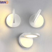 IWHD Fashion Modern Wall Sconces Simple Black White LED Wall Light For Home Lighting Bedside Wall Lamp Lampe Murale