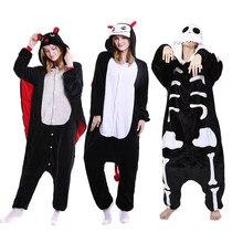 2019 Winter Halloween Pajama Sets Cartoon Sleepwear Cosplay Zipper Women  Pajama Flannel Animal Stitch Skeleton Pajama 411ae2c3e