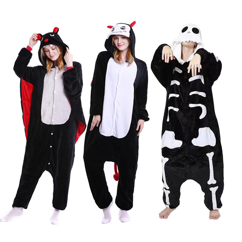 2019 Winter Halloween   Pajama     Sets   Cartoon Sleepwear Cosplay Zipper Women   Pajama   Flannel Animal Stitch Skeleton   Pajama   Kigurumi