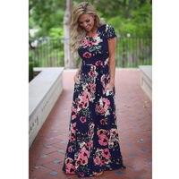 New 2018 Summer Autumn Women Clothing Robe Dresses Short Sleeve Floral Print Large Size Long Dress