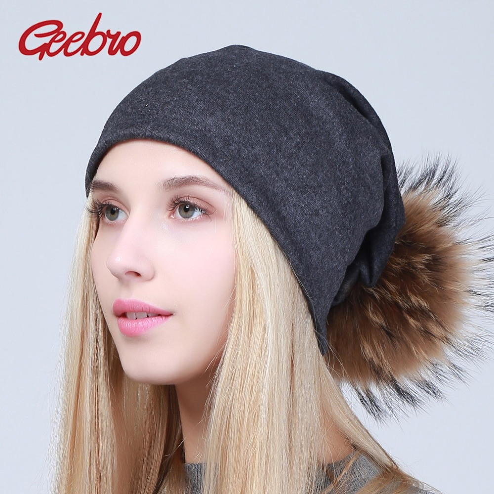 Geebro Women's Beanie Hat With Pompom Spring Cotton Beanies Hats With Raccoon Fur Pompon Skullies Balaclava Caps For Girls JS294