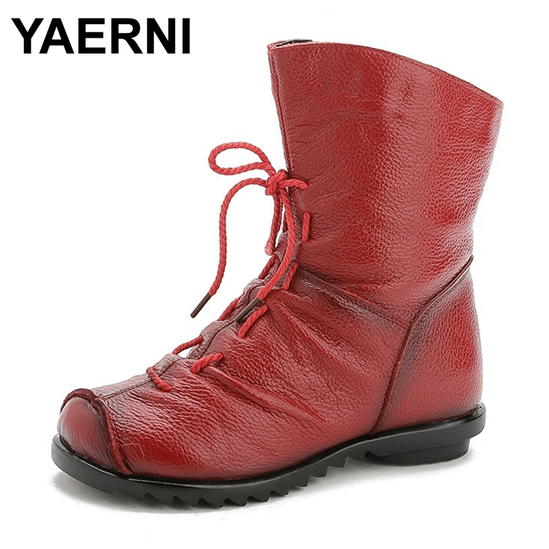 YAERNI 2017 Women Fashion Vintage Genuine Leather Shoes Female Spring Autumn Platform Ankle Boots Woman Lace Up Casual Boots чехол для iphone 5 глянцевый с полной запечаткой printio every day