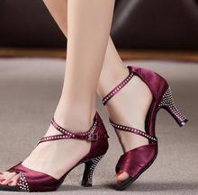 New Burgundy Rhinestone Salsa font b Tango b font Ballroom font b Dance b font Shoes