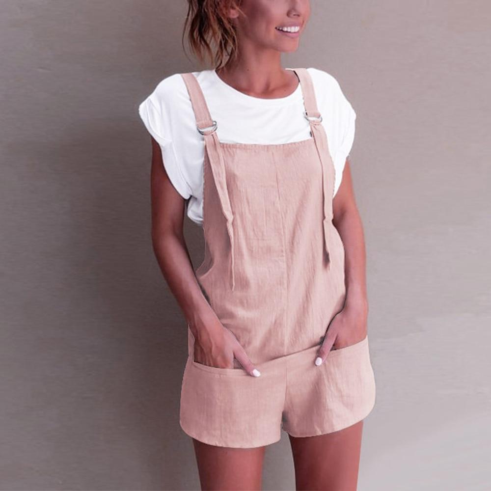 Casual Pockets   Jumpsuits   Female Strapless Linen Cotton Short Wide Leg Trouser Womens Summer overalls Beach Cami Clothing 2019