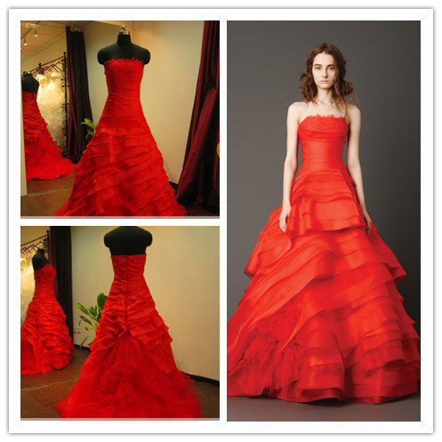 Real Photo Organza Faith With Shoulder Rose Red Wedding Dress Sample Fluffy Embroidery Roses