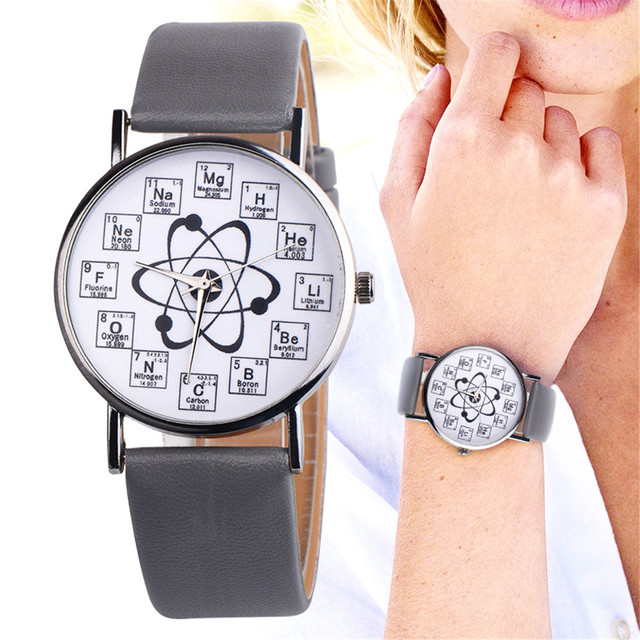 2018 Fancy Womens Chemical Element Casual Leather Analog Quartz Watch Women Watc