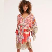 Jastie Floral Print Mini Dress Kimono Style Casual Women Dresses V neck Tassel Hem Hippie Chic Boho Dress Summer Beach Dresses
