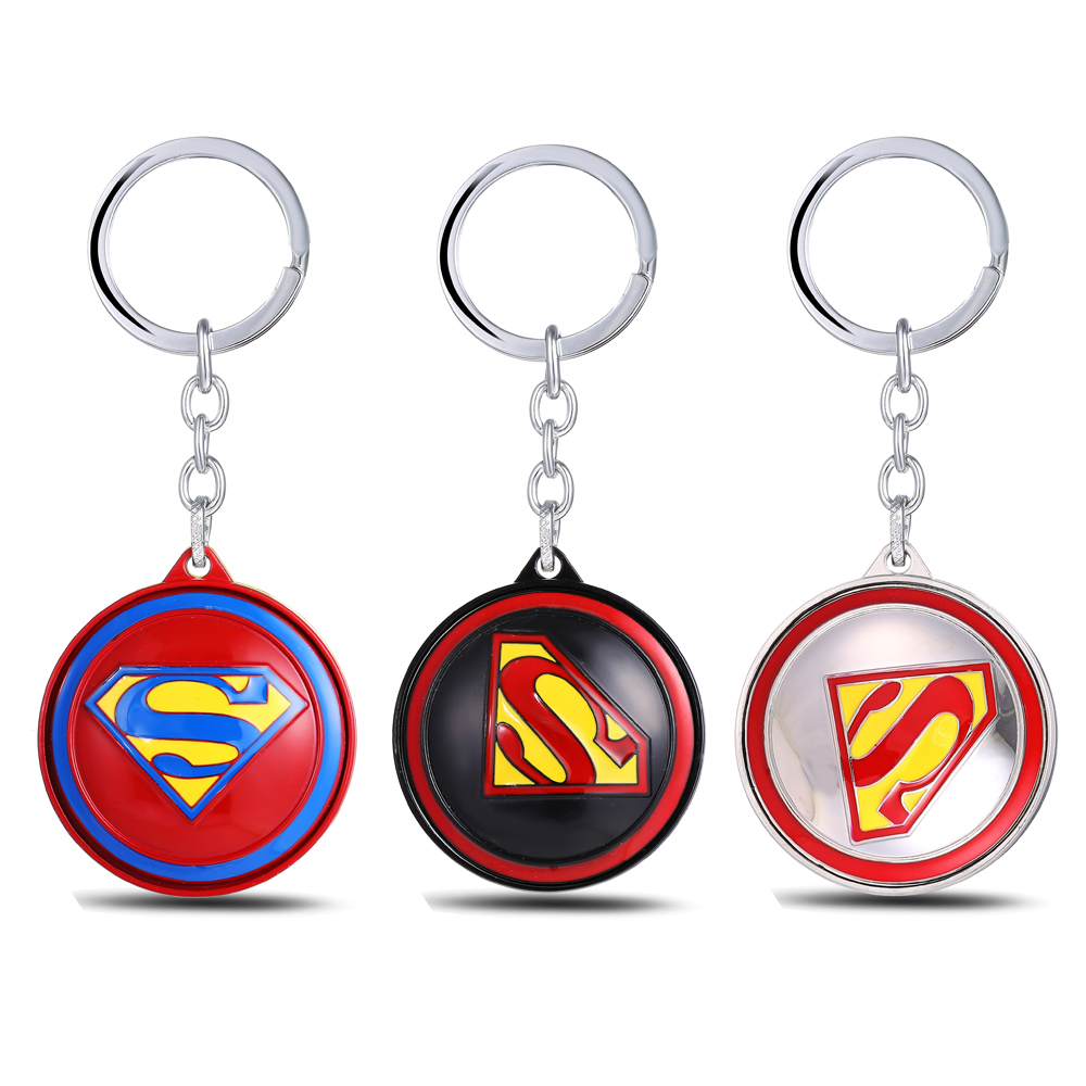 MS JEWELS Super Hero Superman 360 Degree Rotatable Keychain Metal Key Rings llavero Key Chain Jewelry Promotion Gifts Dropship