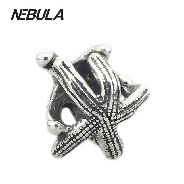 Genuine 925 Sterling Silver Starfish Charme Contas Estrela Do Mar Não É Original Fit Europeu Troll Bracelet & Necklace Da Jóia Animal
