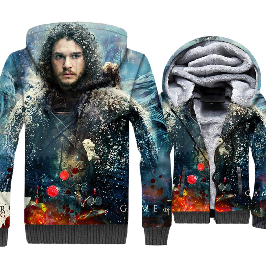 WINTER IS COMING 3D Hoodies Men 2018 Fashion Streetwear Zip Sweatshirts Game Of Thrones Harajuku Men's Sweatshirt Jackets Hoody