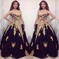 Novo Ouro Rendas Applique Preto Tulle Vestidos de Baile 2016 vestido de festa Custom Made vestido de Baile vestido de festa importados
