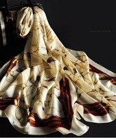 2017 New Design Luxury Brand 180 65cm 100 Pure Silk Real Scarf Spring Summer New Women