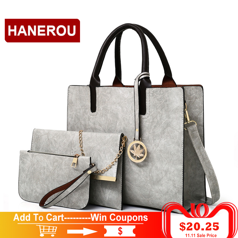 2018 New Women Bags Set 3 Pcs Leather Handbag Women Large Tote Bags Ladies Shoulder Bag Handbag+Messenger Bag+Purse Sac a Main women handbags leather handbag multicolor women messenger bags ladies brand designs bag handbag messenger bag purse 6 sets