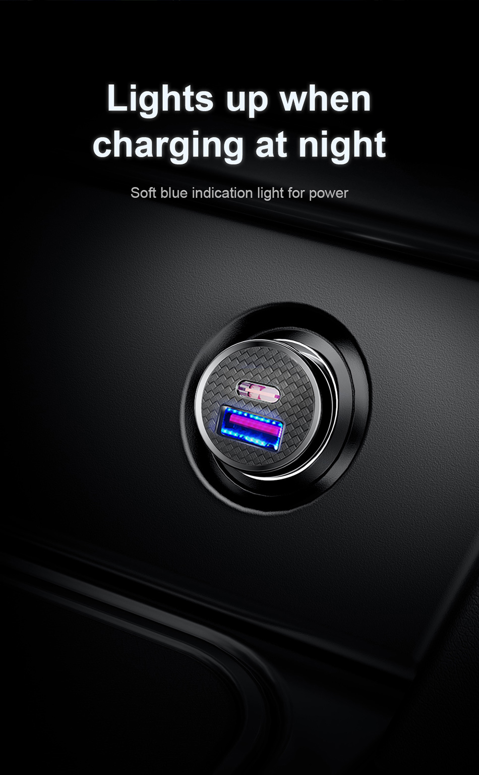 USB Car Charger 4.0 3.0 with charging light