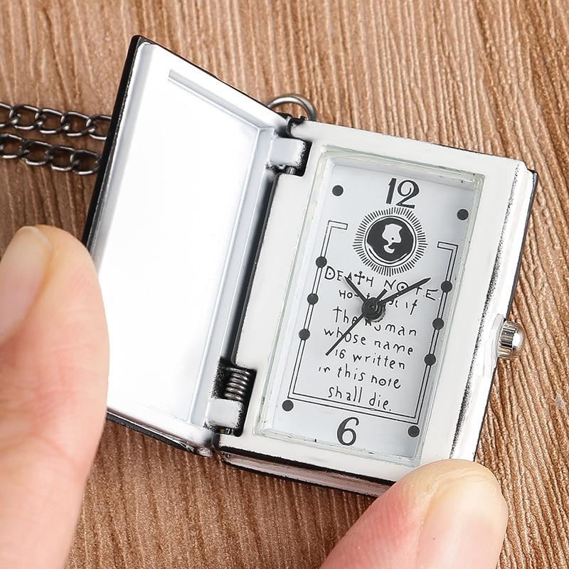 Death Note Book Shape Pocket Watch Chain Men Women Boys Cool Necklace Quartz Fashion Full Hunter Rectangle Japanese Anime Gift