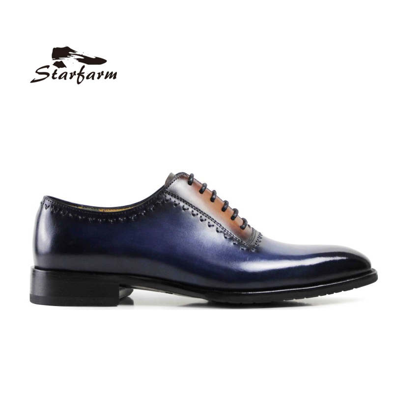 STARFARM Goodyear Custom Made Shoes Men Hand Made Oxford Genuine Full Grain Cow Leather Formal Dress Shoes Wipe Color Blue Brown blaibilton formal dress men shoes oxford 100