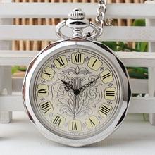 Luxury Silver/Dark Grey Hand Wind Mechanical Pocket Watches for Men Women Retro Wind Up Steampunk Pendant Nurse Clock TJX079
