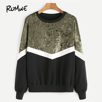 ROMWE Mixed Media Color Block Sweatshirt 2017 Pullovers Women Drop Shoulder Casual Autumn Tops O Neck