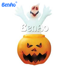 H036 Free shipping 3m high Halloween inflatable pumpkin with animated ghost inside/inflatable halloween pumpkin with ghost
