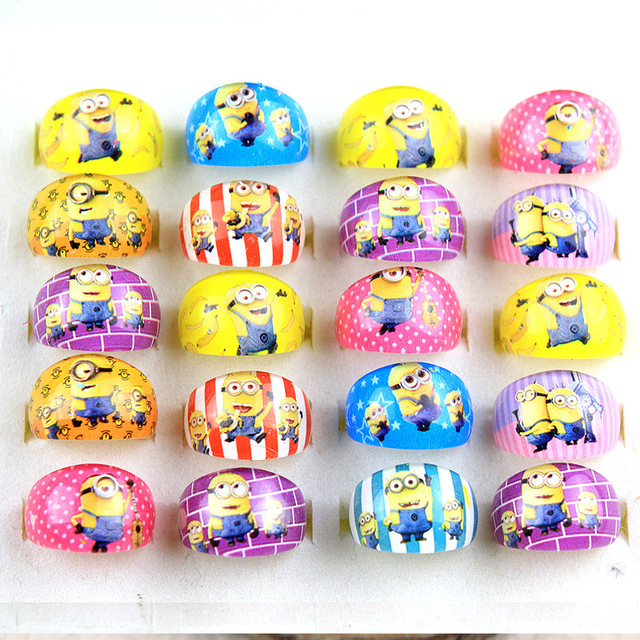 25PCS Minions Party favors cartoon ring for boy girl baby shower decoration kids happy birthday party supply gift souvenirs