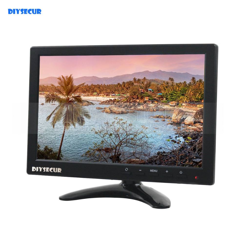 DIYSECUR 10.1 inch TFT LCD HD Monitor Build in Speaker with BNC / AV / VGA / HDMI Input 1280 x 800 For Monitoring System