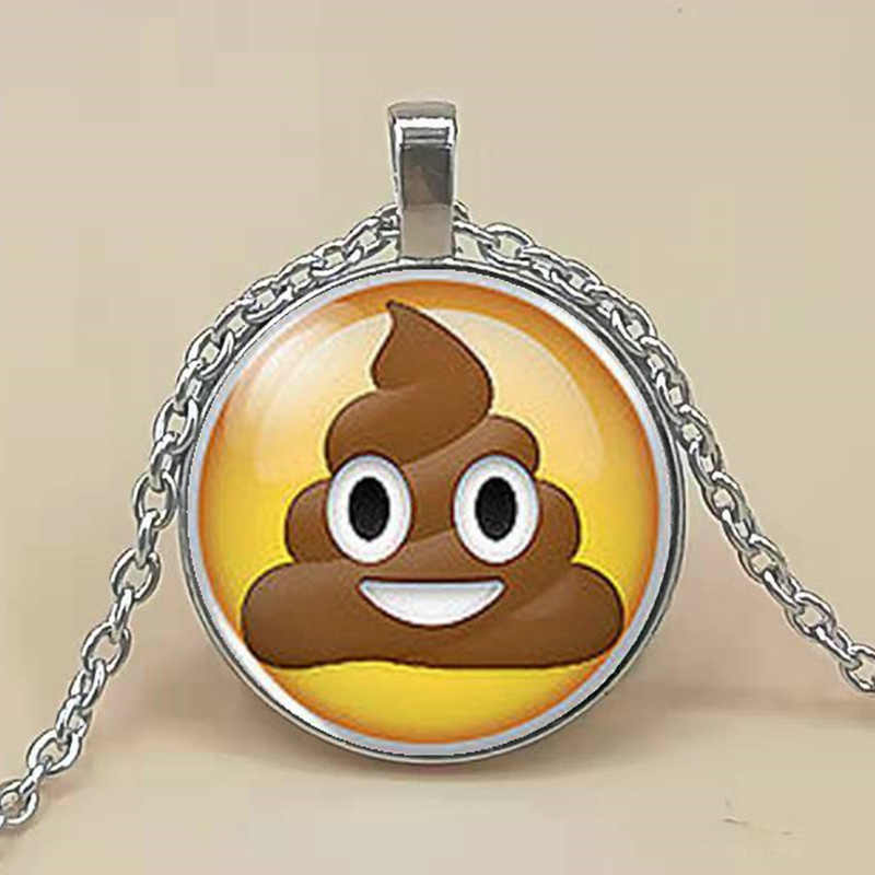 Pile Poo Poop Emoji Emoticon Geek Geeky Nerd Cabochon Men's Handmade Fashion Necklace Pendant Steampunk Gift Women's Chain