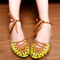 2016 Summer Womens Sandals Rome Brand Shoes Women Summer Shoes Fashion Flat Sandals Lace Up Green White Comfortable Soft Sole