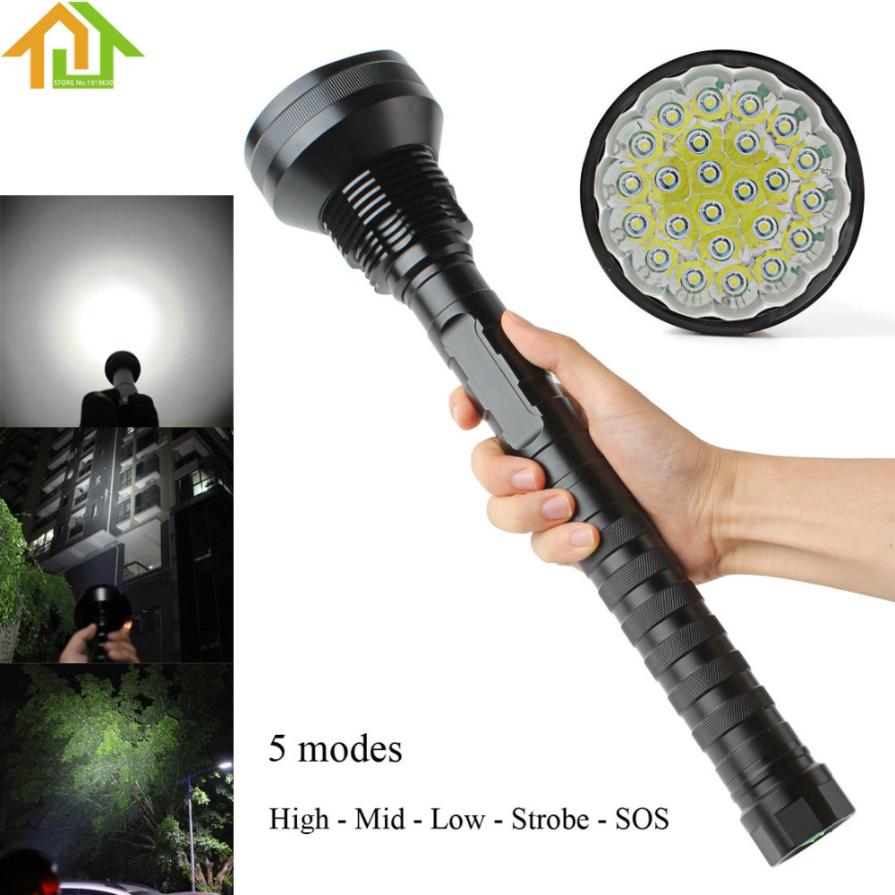 Waterproof 32000LM 5 Modes 24x XML T6 LED Flashlight Torch 26650/18650 Camping Lamp Light Tactical Flashlights 28000lm 15 x t6 led flashlight 5 modes 26650 18650 camping lamp light bike accessories cycling bike bicycle front head torch m12