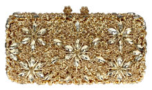 DC1989 Luxury Rhinestones Evening Bags Gold Color Flower Clutches For Women Hard Metal Case Shoulder Chain Shiny Gold PU Lining