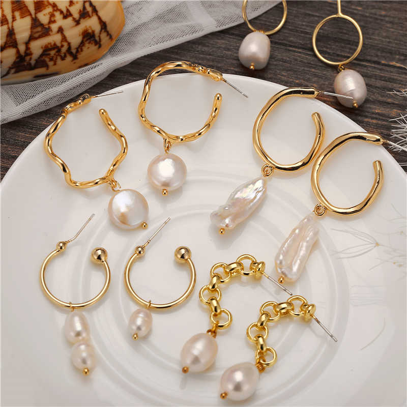 Geometric Round Pearl Earrings Gold Color Drop Earrings For Women Freshwater Pearl Earring 2019 New Female Brincos Accessories