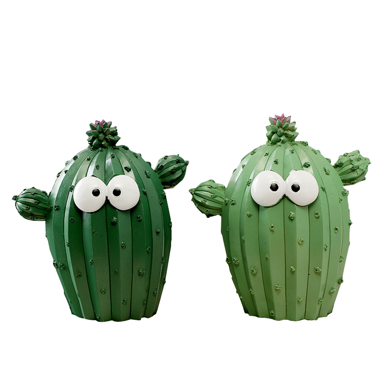 Pastoral Creative Cartoon Cactus Piggy Bank Figurines Fashion Home Desktop Decorations Bar Office Ornaments Cute Children Gifts