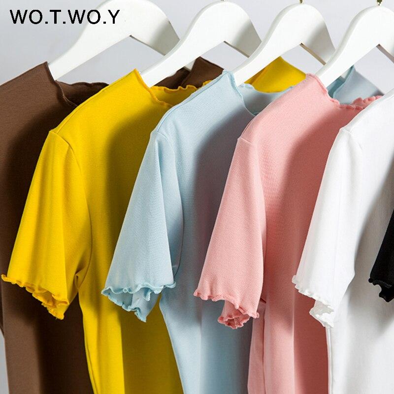 WOTWOY Ruffles Summer T Shirt Women Cotton Casual Solid T-Shirt Women Korean Tops Tee Shirt Femme Slim Black Tshirt Harajuku New
