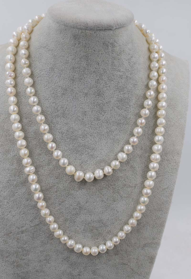 freshwater pearl necklace white 8-9mm near round 17 24inch FPPJ wholesale beads nature image